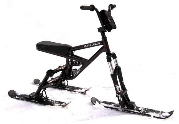 SNOWBIKE, велосипед или мотоцикл на лыжах