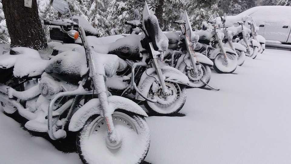мотоцикл и зима