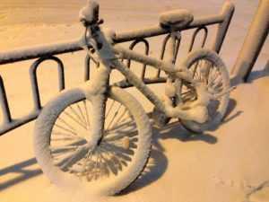 Снегоход из велосипеда